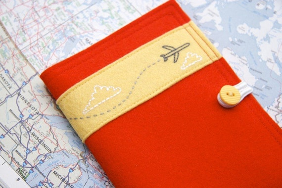 Jet Airplane Passport Cover Embroidered Red Felt