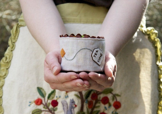 Linen Fabric Basket, Tea Time, Earthtone Stripes with Hand Embroidery