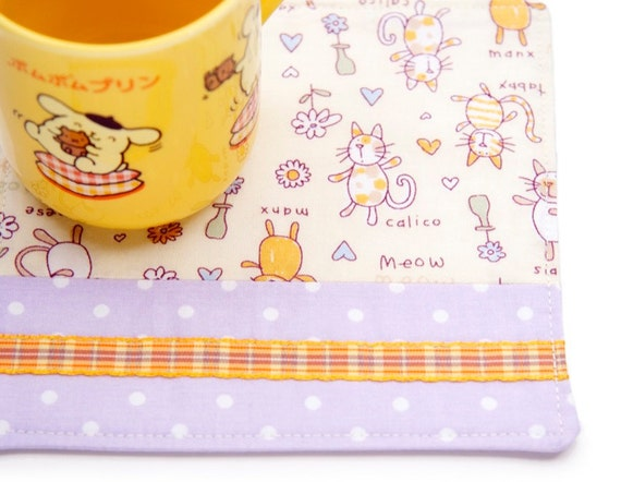 Kitty Cat Drink Coaster Large Purple and Orange Polka Dot