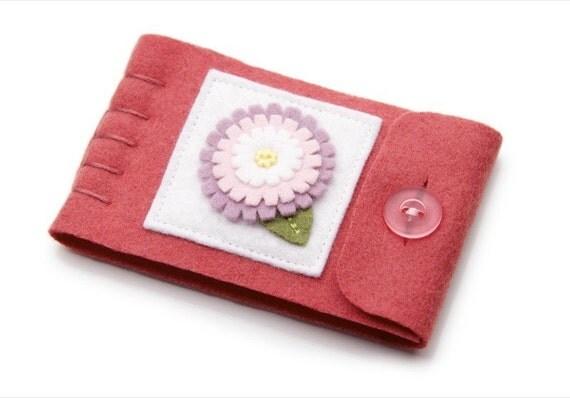 Felt Needle Case Pink Wool Felt Flower By JennMaruskaDesign