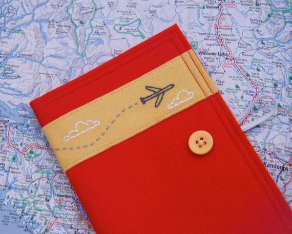 Felt Passport Cover Travel Wallet Embroidered Jet Airplane Red