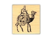 CAMEL RIDER Mounted African or Arabian rubber stamp, Africa, Bedouin, desert, Sweet Grass Stamps No.17