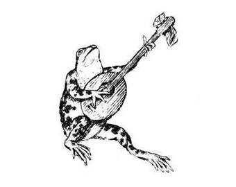 FROG and BANJO, Music unmounted rubber stamp, mandolin, hoe down, Sweet Grass Stamps No.10