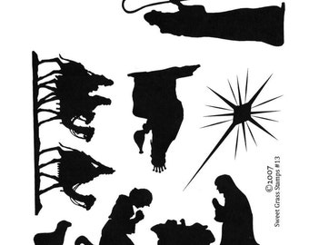NATIVITY SILHOUETTES 7 Christmas unmounted rubber stamps, Christian, religous, Sweet Grass Stamps No.13