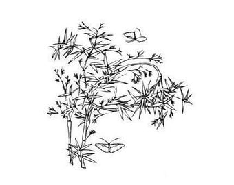 BAMBOO with Butterflies unmounted rubber stamp, oriental, Asian, Japanese, Chinese, nature, Sweet Grass Stamps No.12