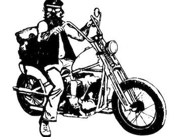 BIKER DUDE unmounted motorcycle rubber stamp, Harley Davidson No.14