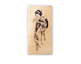 Coy GEISHA Mounted rubber stamp, Japanese No.12