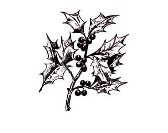 HOLLY BRANCH unmounted rubber stamp, Christmas greenery, holiday season, Sweet Grass Stamps  No.19
