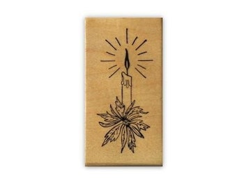 CHRISTMAS CANDLE wood mounted rubber stamp No.19