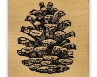 PINE CONE Large mounted rubber stamp, winter, Christmas No.19