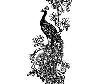 Peacock Large UNMOUNTED rubber stamp, wedding, fantasy, bird, Sweet Grass Stamps No.18