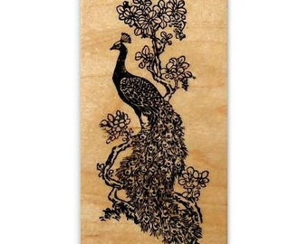 Peacock Large Mounted rubber stamp, wedding invitations, bridal shower, fantasy, bird, Sweet Grass Stamps No.18
