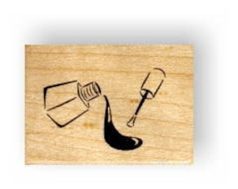 NAIL POLISH mounted rubber stamp No.5