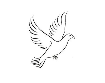 Dove unmounted rubber stamp, bird, symbol of peace, nature, faith, Sweet Grass Stamps No.11