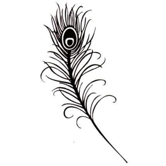 Peacock Feather, Large, unmounted rubber stamp No.8