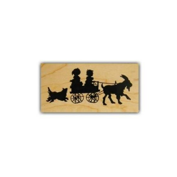 CHILDREN in GOAT CART silhouette Mounted rubber stamp, small No.1