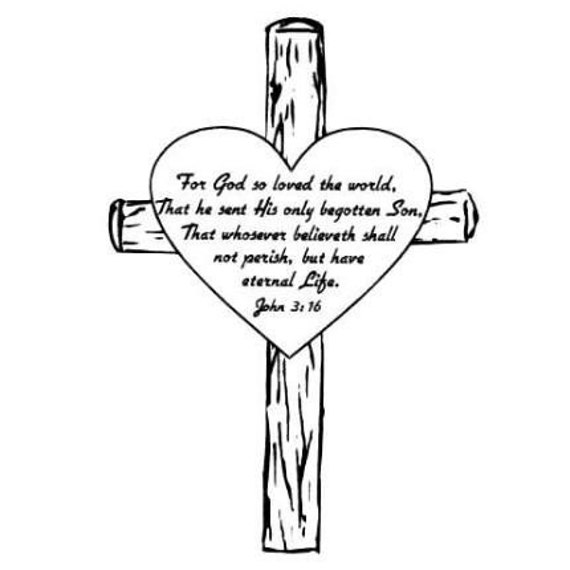 Items Similar To John 3 16 In Heart On A Cross Unmounted