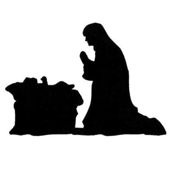 Manger Scene Nativity Silhouette UM Christmas rubber stamp, Mary and ...