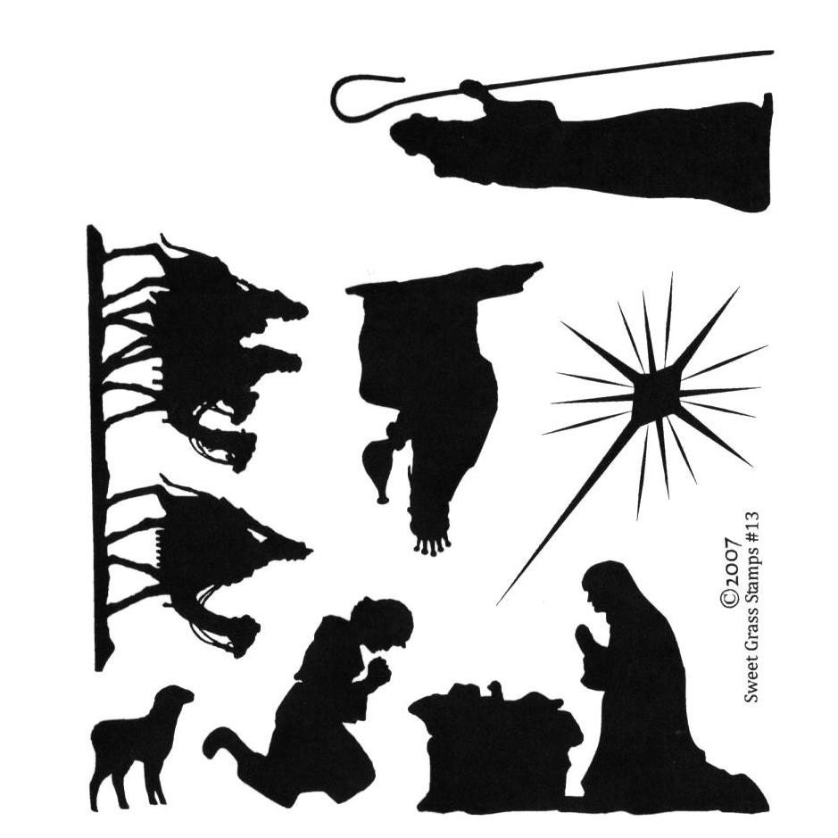 NATIVITY SILHOUETTES 7 Christmas unmounted by sweetgrasstamps