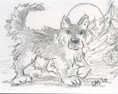 ACEO original pencil drawing WALKING WOLF