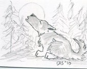 ACEO original pencil drawing HOWLING WOLF