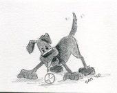 ACEO original pencil drawing LABRADOR dog drooling