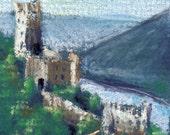 original ACEO castle by a river pastels