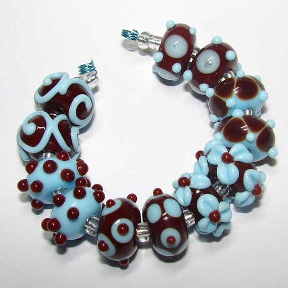 Blue and Chocolate handmade lampwork beads