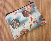 Small Zippered Coin Pouch Swimming Koi on Blue