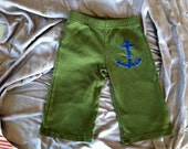 Baby Sailor Pants, olive green with blue anchor, American Apparel