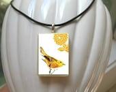 Yellow Bird Necklace With Chrysanthemum