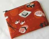Sushi Red Small Zipper Pouch