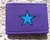 SALE Star WALLET, matches purse, purple with aqua blue star, lots of pockets inside, customizable