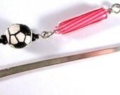 Pink Beaded Soccer Bookmark