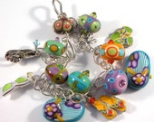 Multi-color, lampwork, flip flops, sterling charm bracelet - California Girl