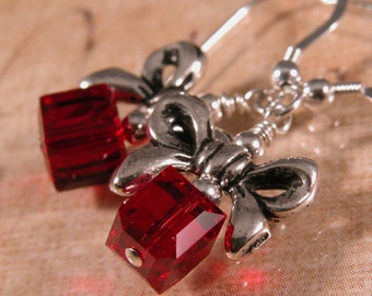 Red Christmas Package Earrings - Swarovski crystals and sterling silver