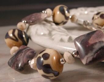 Purple Ivory Lampwork, Porcelain Jasper, Sterling Bracelet