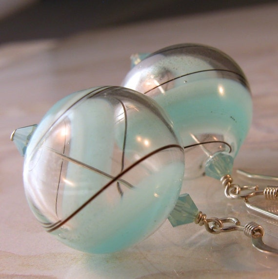 Baby Blue Swirls Hollow Glass Sterling Silver Earrings