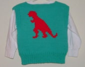 Sweater Vest 2T Size - Turquoise w/ Christmas Red T Rex (Toddler)