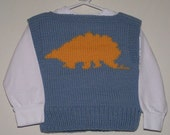 Sweater Vest 2T Size - Blue with Gold Stegosaurs (Toddler)