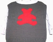 Sweater Vest 4T Size - Charcoal Grey with Red Teddy Bear (Toddler)