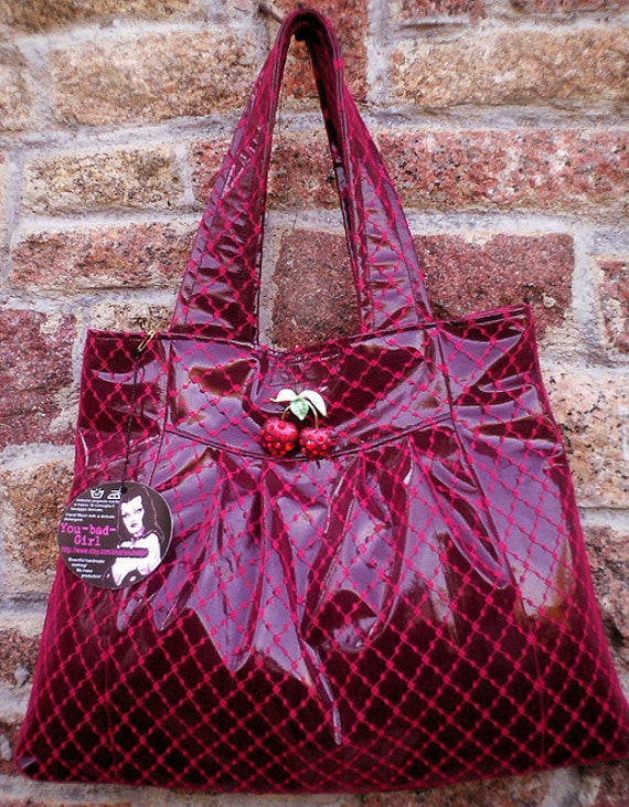 Handmade CHERRY BAG... in black fetish patent pvc and red lace w pretty Fruit Cherry Brooch Pin w Red Swarovski Crystals