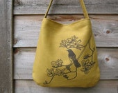 Eco-friendly Hemp Bag with Songbird on Dogwood (Light Moss)