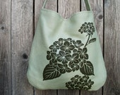 Hemp Bag with Hydrangea  - Bamboo