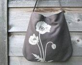Hemp Bag with Poppies Organic Cotton Lining - Charcoal Gray