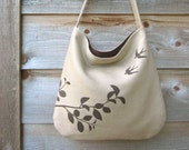 Eco-friendly Hemp Bag with Flying Swallows (Taupe)