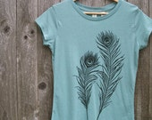 Organic Cotton T-shirt with Peacock Feathers - Women's Crew Neck Turquoise, Blue Sage