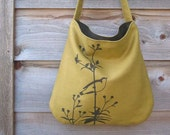 Eco-friendly Hemp Bag with Songbird on Flower Organic Cotton Lining - Deep Golden Mustard)