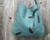 Hemp Bag with Falling Feathers Organic Cotton Lining - Turquoise Blue