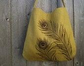Hemp Handbag / Tote Bag / Hobo with Peacock Feathers - Deep Golden Mustard - SALE 15% OFF